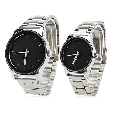 Couple Style Unisex Steel Analog Quartz Wrist Watch (Silver)