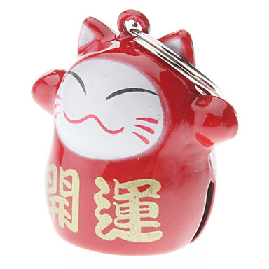 Cat / Dog Tag With Bell / Cartoon Design Red Aluminum