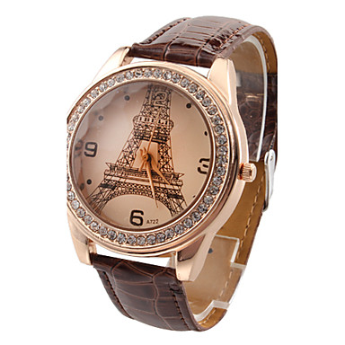 Women's Quartz Imitation Diamond PU Band Casual Eiffel Tower Black White Red Brown Rose