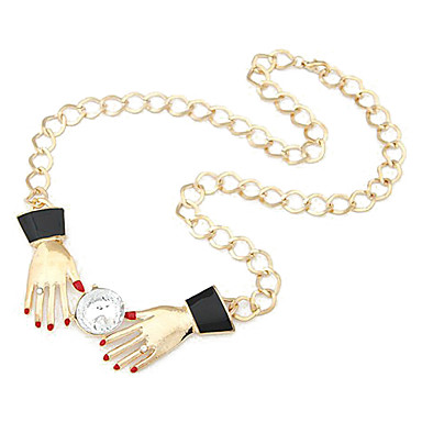 Krystall og hender Ornaments Chain Necklace