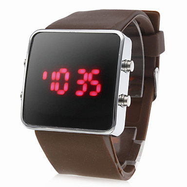 Silicone Band Women Men Unisex Jelly Sport Style Square LED Wrist Watch - Brown Cool Watch Unique Watch