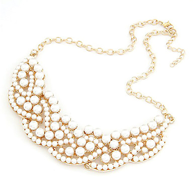Women's Alloy Golden Classical Long Necklace with Pearls