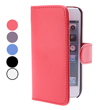For iPhone 5 Case Wallet / Card Holder / with Stand / Flip Case Full Body Case Solid Color Hard PU Leather iPhone SE/5s/5