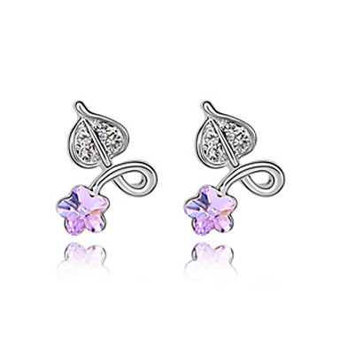 Floret Heart Shaped Fashion Crystal Earrings