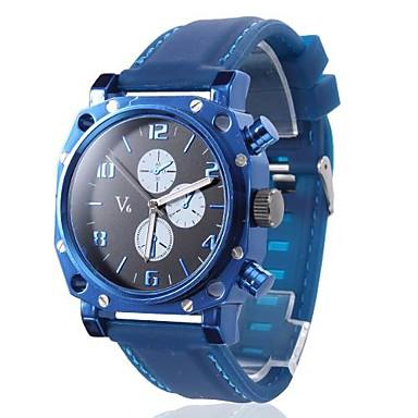 carré bleu montre-bracelet bande étui en silicone de quartz des hommes
