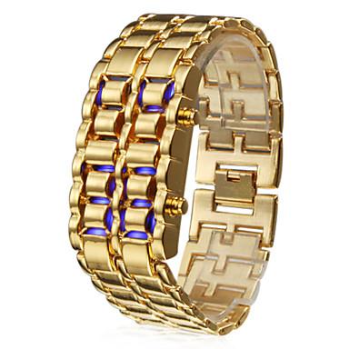 Herren Armbanduhr digital LED Kalender Edelstahl Band Gold Golden