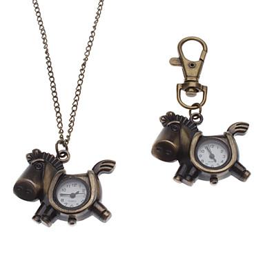 Unisex Cartoon Horse Stil Legierung Analog Quarz Schlüsselbund Halskette Uhr (Bronze)
