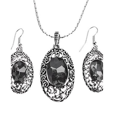 Z&X®  Hollow Alloy Crystal Necklace Earrings Jewelry