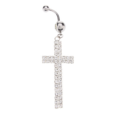 Fully-jewelled Cross Stainless Steel Navel Ring
