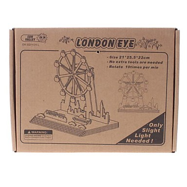 DIY Solar Power Energy Self Assembly Wooden London Eye Ferris Wheel Kit