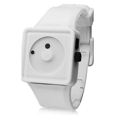 Оригинальные кварцевые аналоговые наручные часы унисекс с стрелками в форме точек на силиконовом ремешке (белый)
