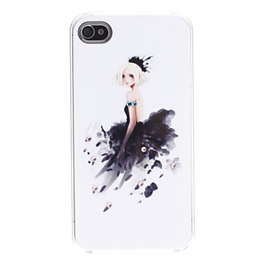 Elegant Lady Pattern Hard Case for iPhone 4/4S