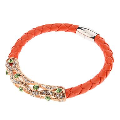 Ahuecado del arco rhinestone cuero Bracelace