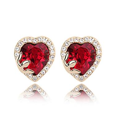 Heart Shaped Crystal med Rhinestone Studded Edge platineret Øreringe