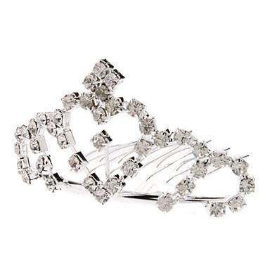 Medium Size Herz Stil Diamond Silver Crown Hairpin für Haustiere