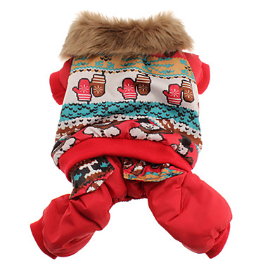 Talvi Style Lumiukko Pattern Puuvilla huppari takki koirille (XS-XL, punainen)