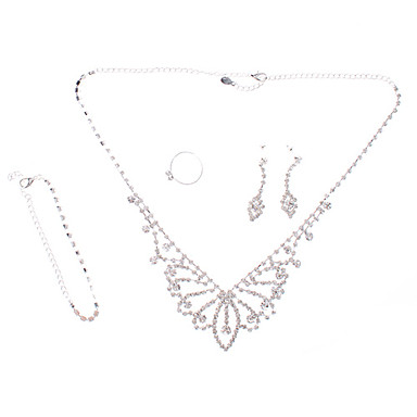Eye-shaped Silver Plated Fully-Jewelled Necklace Earring Ring and Bracelet Jewelry Set