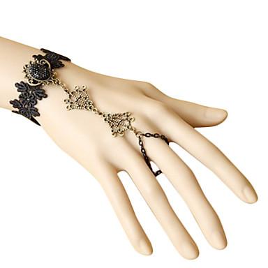 Bowknot Pattern Black Lace Antique Copper Bracelet