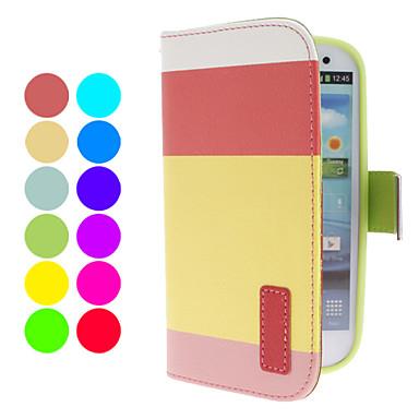 Lompakko PU Leather Case telineellä ja korttipaikka Samsung Galaxy S3 I9300 (Assorted Colors)