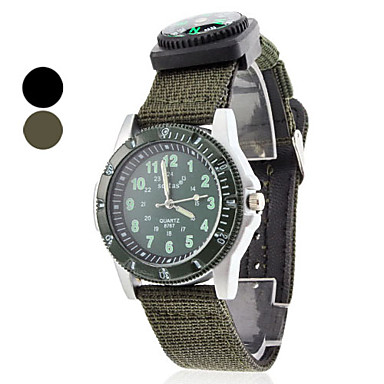 Unisex Quartz Analog Fabric Band with Compass Wrist Watch (Assorted Colors) Cool Watch Unique Watch