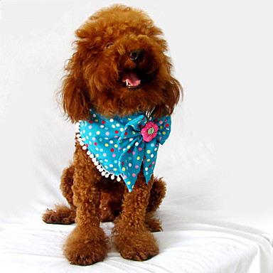 Colorful Spot Pattern Flower Bowknot Style Neckerchief Bandana Saliva Towel for Dogs Cats (Assorted Color,S-L)