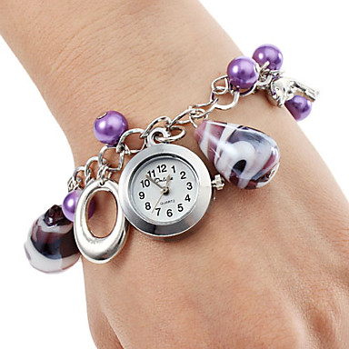 Women's Quartz Bracelet Watch Japanese Hot Sale Stainless Steel Band Elegant Fashion Purple