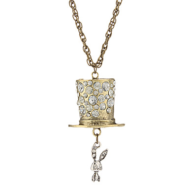 Magician's Hat And Super Cute Rabbit Fully-jewelled Flash Diamond Long Necklace