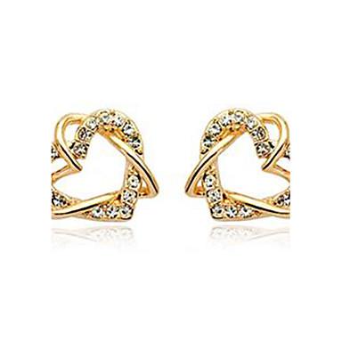 Fashionabla hjärtformad Inlay Diamond Alloy 18K Guldpläterade Örhängen