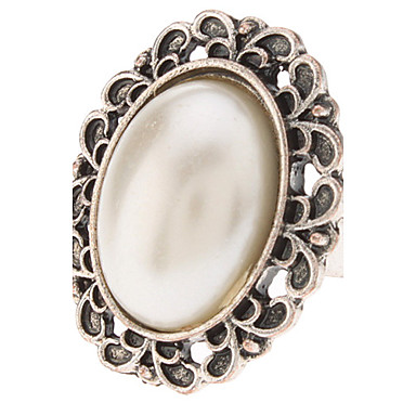 Women's Statement Ring Pearl Alloy Fashion Party Costume Jewelry