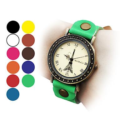 Mulher e menina é a Torre Eiffel estilo pu analógico relógio de pulso de quartzo (cores sortidas)