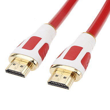 High Speed HDMI 1.4 Cable Supports 1080P with Ethernet for Smart LED HDTV, APPLE TV, PS3, XBOX360, Blu-ray (1.5 m, Red)