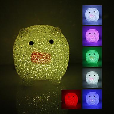 Di cristallo a forma di maiale colore che cambia la luce di notte del LED (USB)