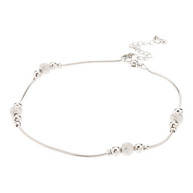 Lucky Bead Metal Anklet(Platinum)