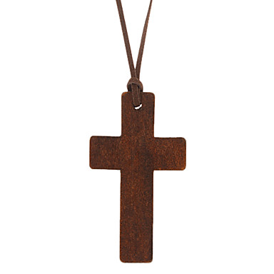 Cross Shape Pendant Necklace Leather Wood Pendant Necklace Daily Costume Jewelry
