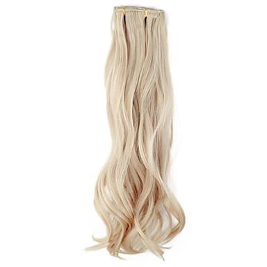 yüksek kaliteli sentetik 45 cm klip-in ipeksi dalgalı saç uzatma 6 renk seçmek için