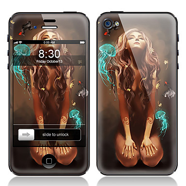Girl Pattern Front and Back Screen Protector Film for iPhone 4/4S