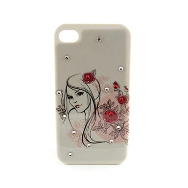 Zircon Inlaid Girl Floral Hard Case for iPhone 4/4S