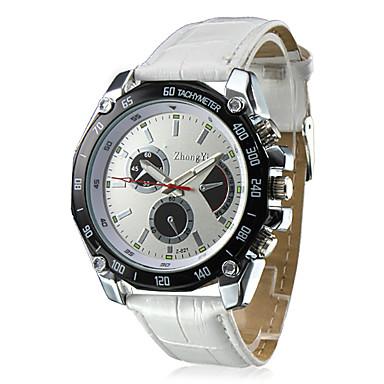 זול שעוני גברים-בגדי ריקוד גברים שעונים צבאיים שעון יד קווארץ דמוי עור מרופד שחור / לבן / חום שעונים יום יומיים אנלוגי קסם - חום לבן /  לבן לבן /  כחול