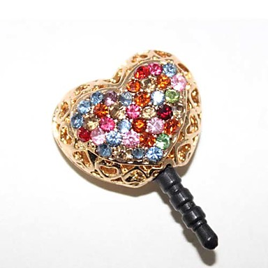 Colorful Zircon Hollow Out Glod Heart Pattern Anti-Dust Plug
