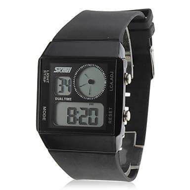 Unisex Silicone Digital Automatic Wrist Watch (Black)