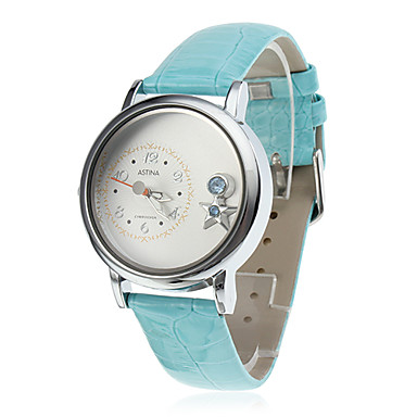 Women's and Girl's Star Style PU Analog Quartz Wrist Watch (Blue)