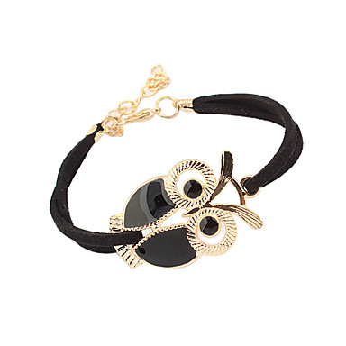 Women's Leather Owl Charm Bracelet Vintage Bracelet - Vintage Basic Cute Style Black Red Blue Bracelet For Christmas Gifts Daily Casual