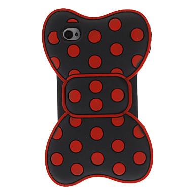 Ronda Dots Bowknot Style Funda de silicona Roja 3D para el iPhone 4/4S