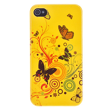 Exquisite Yellow Butterfly Flash Powder Hard Case for iPhone 4/4S