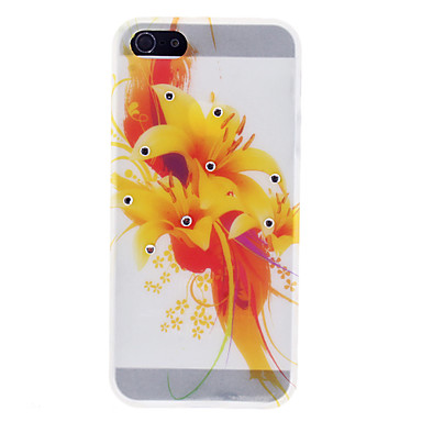 Elegant Yellow Flower Pattern TPU Case with Rhinestone for iPhone 5/5S
