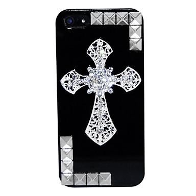 Punk zircão cruz de ouro padrão rebites caso difícil para iphone 5/5s
