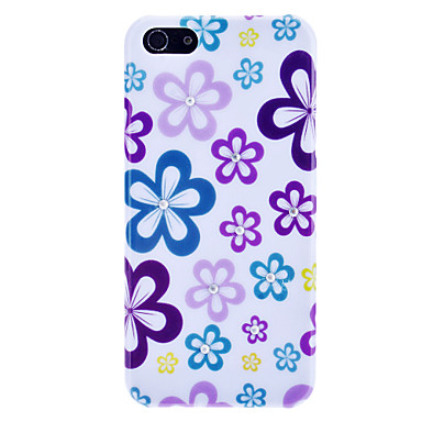 Little Colorful Pattern Hard Case with Rhinestone for iPhone 5/5S