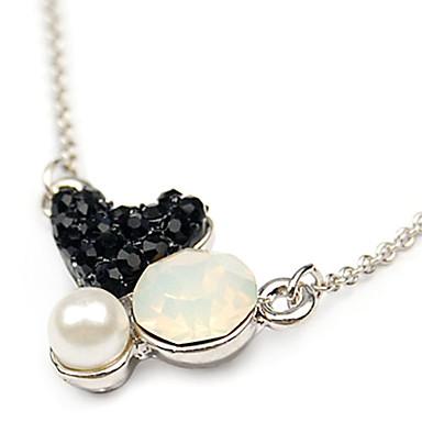 Diamond-bezaaid Heart-Shaped Pendant Black Collier