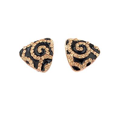 Alliage plaqué Zircon acrylique Triangle Boucles d'oreilles motif or