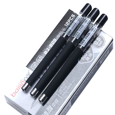 0.5mm Plastic Black Ink Gel Pen (2PCS)
